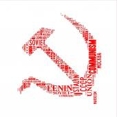 Hammer and sickle word cloud — Stok fotoğraf