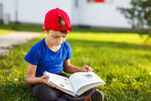 Little boy reading fable book — Stock Photo