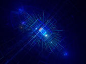 Blue abstract technology background with glowing rectangles — Stock Photo