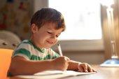 Little boy write into exercise book — Stock Photo