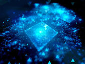 Blue glowing square with blurred elements — Stock Photo