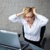 Young woman can't handle workload — Stock Photo