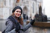 Vrouw toeristische in Boedapest — Stockfoto