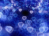 Blue glowing heart bokeh background — Foto Stock