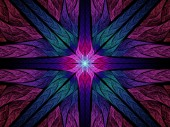Colorful symmetric stained glass fractal — Stock Photo