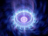 Blue glowing rotating mandala in space — Stock Photo