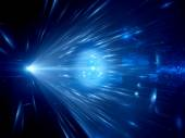 Blue glowing light rays in space — Stock Photo