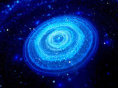 Blue glowing disc shaped galaxy in deep space — Stock Photo