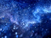 Blue glowing square shape particles in space — Stock Photo