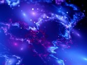 Colorful glowing nebula in space with bokeh — Stock Photo