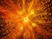 Golden firework fractal with particles — Stock Photo