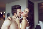 Sensual lovers at home — Stock Photo