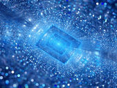 Blue glowing rectangle with particles depth of field — Stock Photo