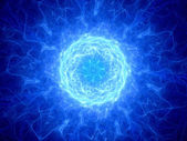 Blue glowing plmasa torus in space — Stock fotografie