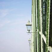 Stylish old laps on iron bridge — Stock Photo