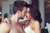 Sexy passionate couple foreplay — Stock Photo