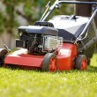 Gardener mowing the lawn — Stock Photo #72640991