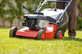 Gardener mowing the lawn — Stock Photo
