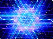 Glowing multicolored hexagon — Stock Photo
