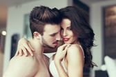 Sexy couple foreplay at home — Stock Photo