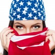 Sexy woman face covered with usa flag — 图库照片 #74625639