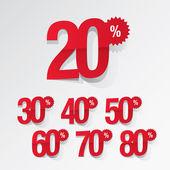 Sale percents tag set — Stock Vector