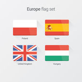 European countries flat flags set — Stock Vector