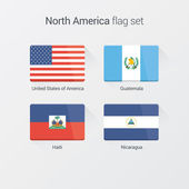 North America flat flags set — Stock Vector