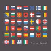 Avrupa ülkeleri düz bayrakları kümesi — Stok Vektör