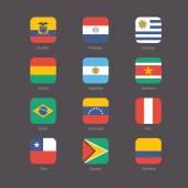 América del sur banderas plano conjunto — Vector de stock