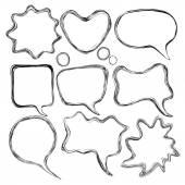 Set of abstract comic speech vector draw bubbles — Stock Vector