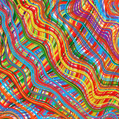 Art rainbow curved stripes color background — Stok Vektör