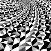 Black and white optical illusion triangle vector pattern, background, texture — Stock Vector