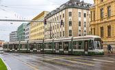 Modern tram on a street of Augsburg - Germany, Bavaria — Stock Photo