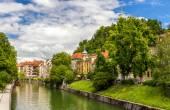 The Ljubljanica river in Ljubljana - Slovenia — Stock Photo