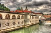 Waterfront in Ljubljana, Slovenia — Stock Photo