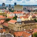 Aerial view of Zagreb city center in Croatia — Stock Photo #57574613