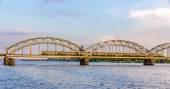 Train on a bridge in Riga, Latvia — Stock Photo