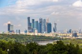 View of Moscow-City from Sparrow Hills park — Stock Photo