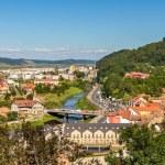View of Sighisoara over the Tarnava river - Romania — Stock Photo #57649647