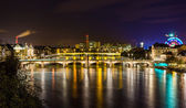 Night view of Rhine embankment in Basel - Switzerland — Stock Photo