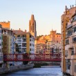 Girona Cathedral with Eiffel bridge over Onyar River - Spain — Stock Photo #65731053