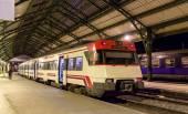 Spanish suburban electric train at French border station Cerbere — Stock fotografie