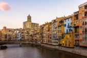 Girona Cathedral and Collegiate Church of Sant Feliu — Stock Photo