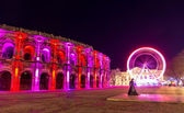 Roman amphitheatre, Arena of Nimes, in the evening - France — Stock Photo