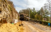 Construction of a railway in Luxembourg city — Stock Photo