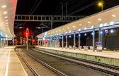 Austrian railway station Feldkirch at night — Stock Photo