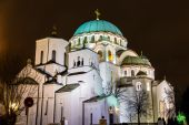 The Little and the main churches of Saint Sava Cathedral in Belg — Stockfoto