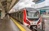 ISTANBUL, TURKEY - JANUARY 6: Hyundai Rotem train at Airilikcesm — Stock Photo