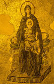 Ancient Apse mosaic of the Theotokos (Virgin Mother and Child) i — Stock Photo